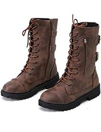2ab10d32a3c48 FMWLST stivali Mezze Stivali da Cowboy Romani Stivali Invernali in Pizzo da  Donna Scarpe da Moto