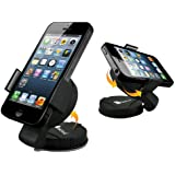 GreatShield Universal Car Mount Holder with Suction Cup and Adhesive Pedestal for iPhone 6s / 6s Plus, Galaxy S7 / S7 Edge / S6, LG G5 / G4 / V10, and Other Devices 55-85mm Wide