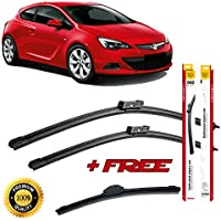 Set of 3 flat blade wiper blades for 0PEL ASTRA H GTC 2005-2010 rear
