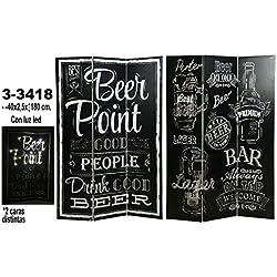 DRW - Biombo de 3 Paneles de Lienzo Decorado con Beer Point en Color Negro y Blanco 120x180x2,5cm