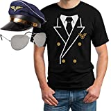 Pilot Pilotenkostüm Karneval - Set mit Pilotenhemd-T-Shirt, Kapitänsmütze und Pilotenbrille Medium Weiß