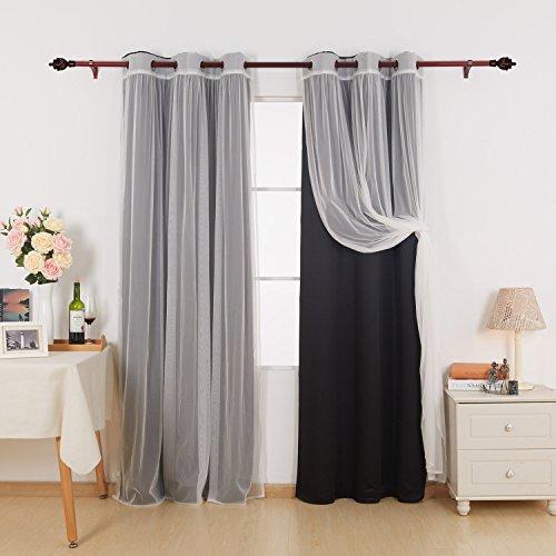 Deconovo Mix und Match Vorhang Set 2-teilig Isoliert Verdunklungsvorhänge und 2Teilige Tüll Spitze weiß Sheer Vorhänge für Schlafzimmer 42x95 inch Schwarz -