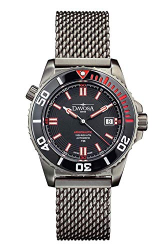 Davosa Automatic Argonautic Diver Lumis Black Red Stainless Steel Wrist Watch