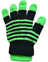 2 in 1 Stripy Neon Magic Gloves Assorted Bright Colours Stretchy Acrylic Material One Size Winter Warm