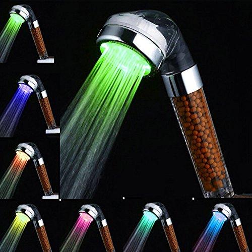 Cabeza de ducha LED Cambio de color wassersparend Alcachofa, amison 7Color automático temperatura alta presión Anion filtro de ducha