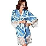 Fenverk Frau Sexy Die Seide Kimono Dressing Puppe Spitze Dessous Bad Robe NachtwäSche Schlafkleid Nachthemd Nachthemden Schlafhemd Pyjama Nighty Damen Neglige(Hellblau,L)