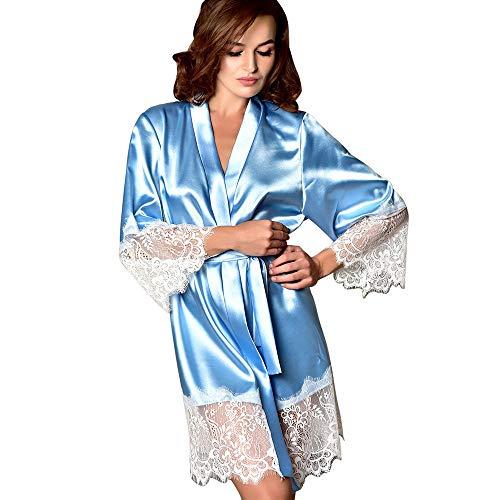 YCQUE Frauen Sexy Seide Gebundene Taille Geschenke Attraktive Entworfene Wäsche Kimono Dressing Babydoll Dessous Bademantel Nachtwäsche Charming (Hellblau, XL)