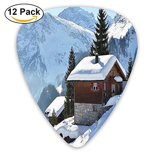 Single Wooden House On Hills In Snowy Valley Nordic Peaks Relax Swiss Scenery Guitar Picks 12/Pack Set -