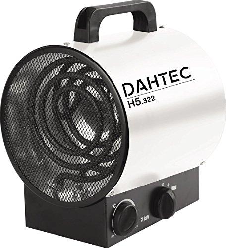 DAHTEC - H2.322 - Heizlüfter 2kW 2000 Watt - 2 Heizstufen, 1 Ventilatorstufe - Elektrisch Tragbar Mobile Portable 230 V - Elektroheizgebläsen für Haus, Wohnung, Büro, Werkstatt, Camping, Garage