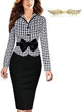 BYD Mujeres Vestidos a Cuadros De Empalme Lápiz Manga Larga Ajustado Tulipán Traje de Trabajo Oficina Vestido Negocio Vestido Ropa