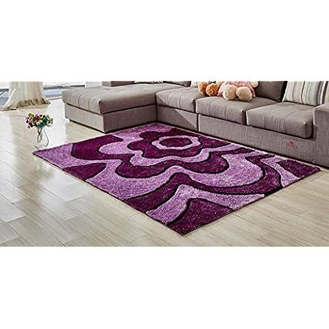 Jack Mall- Alfombra simple cifrado Modelo moderno Corea del Sur alfombra de seda Habitación Sala de cabecera rectangular Mesa de Manta estilo europeo antideslizante ( Color : Purple , Tamaño : 120*170cm