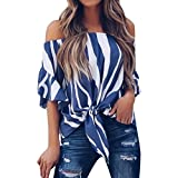 BHYDRY Frauen Striped Off Schulter Taille Tie Bluse Kurzarm Casual T Shirts Tops(Blau,L)