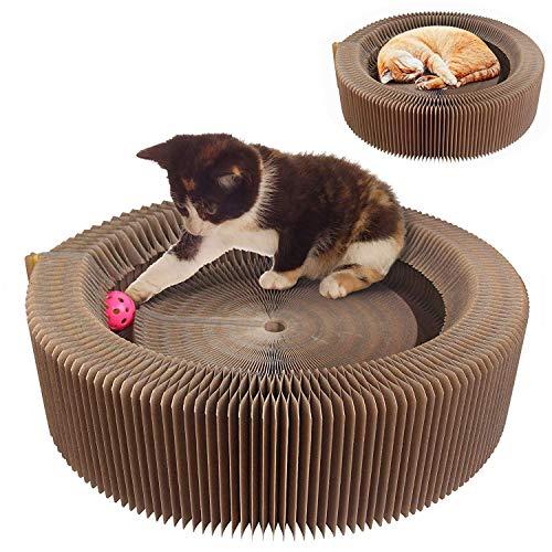 Tiragraffi per gatti, è pieghevole e può cambiare la forma bordo di gioco giocattolo con twinkle palla & catnip portable ad alta densità riciclata modello ondulato