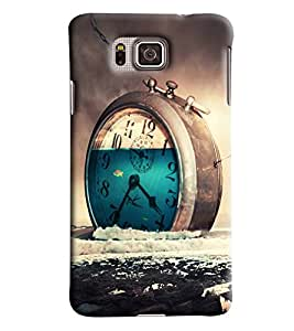 Blue Throat Clock Wasting Time Printed Designer Back Cover/ Case For Samsung Galaxy Alpha