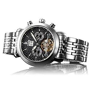 Alienwork IK Reloj Automático Tourbilon-Style mecánico Resistente al agua 10ATM Cristal de zafiro Acero inoxidable negro plata 98444G-MS-01 de Alienwork