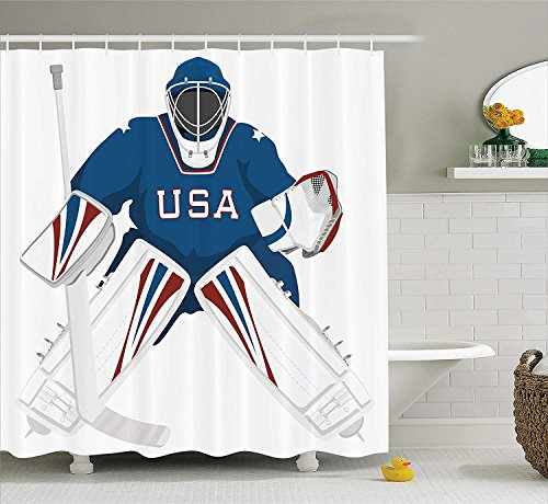 ollektion Team USA Hockey Goalie Schutz Jersey Sportswear Illustrationen Design PrintStoff Badezimmer Duschvorhang Set mitBurgund blau weiß ()