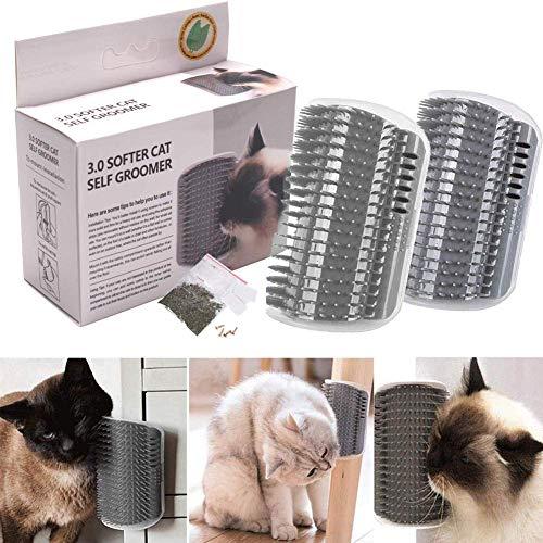 GH-GHawk 2 PZ Cat Self Groomer Massager, Self Groomer Wall Corner Massage Comb, Regalo Perfetto per Il Tuo Gattino.