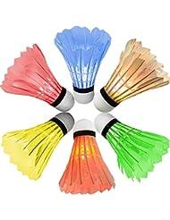 [6pièces] LED Tube de volants de badminton,GYOYO lumineuse Badminton Sport Nuit LED lumineuse Birdies volants de badminton à l'intérieur