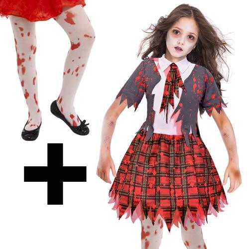 MFD Zombie School Girl + Tights 9-10 Years (Kinder Für School-girl Halloween-kostüme-zombie)
