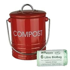 Mini boîte à compost de cuisine en métal rouge et 50x compostage All-Green–Sacs Poubelle Pour Déchets Alimentaires de recyclage