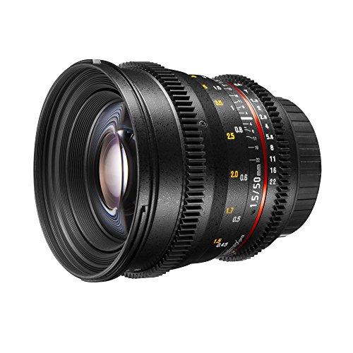 Walimex Pro 50 mm 1:1,5 VDSLR Video/Foto Objektiv für Canon EF Objektivbajonett schwarz, (manueller Fokus, für Vollformat Sensor gerechnet, Filterdurchmesser 77mm, stufenlose Blendeneinstellung) (Canon-video-objektiv)