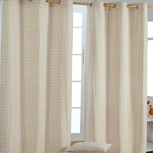 Homescapes ' tenda con occhielli tenda decorativa gingham nel set da pezzi, 117x 137cm, 100% puro cotone, beige bianco a quadretti