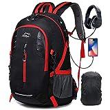 A AM SeaBlue 30L Zaino Trekking Viaggio Hiking Backpack Leggero Zaino per Escursionismo Campeggio Alpinismo,Collegio Scuola Uomo e Donna Porta USB con Impermeabile Parapioggia,Nero