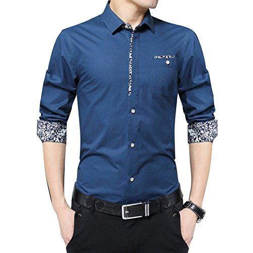 Camicia casual da Uomo / Camicia Maniche Lunghe / Business Camicia / Camicia con contrasti Taglia M/L/XL/XXL/3XL Diamond Blu