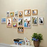 Art Street - Diamond Set Of 15 White And Natural Color Wall Photo Frame (Mix Size) 2 Units Of 8x10, 5 Units Of 6x8, 8 Units Of 5x7