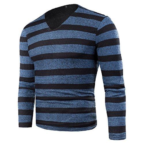 CuteRose Men's Stripes Printed Comfy Velvet Knitwear Pullover Sweater Blue L