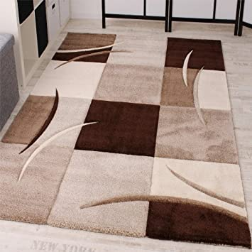 Teppich braun beige  Designer Teppich mit Konturenschnitt Karo Muster Braun Beige ...