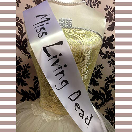 MISS LIVING DEAD SASH Pageant Beauty Queen Halloween Fancy Dress Outfit Cheap Costume ()
