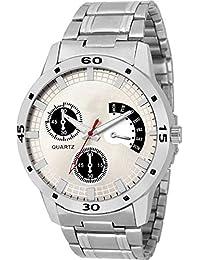 Swadesi Stuff New Arrival Metal Belt Silver Dial Stylish Watch For Men & Boys 00307