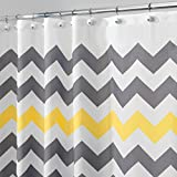 mDesign Chevron Fabric Shower Curtain - Water Repellent Bathtub Curtains with 12 Hanging Eyelets - Elegant Shower Curtains - Grey/Yellow