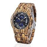 BEWELL Herren Natur Hölzerne Uhr Multifunktionale Quartz Analog Armbanduhr mit Kalender Anzeige Chronograph-Funktion Hölzerne Armband für Männer(Zebra Holz)
