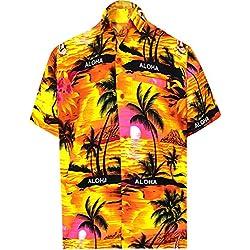 LA LEELA Casual Hawaiana Camisa para Hombre Señores Manga Corta Bolsillo Delantero Vacaciones Verano Hawaiian Shirt XL-(in cms):121-132 Naranja_W32