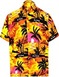 LA LEELA Shirt Camicia Hawaiana Uomo XS - 5XL Manica Corta Hawaii Tasca-Frontale Stampa Hawaiano Casuale Regular Fit Arancia538 XXL