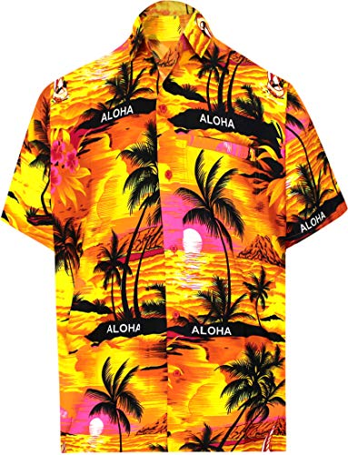 LA LEELA männer Hawaiihemd Kurzarm Button Down Kragen Fronttasche Beach Strand Hemd Manner Urlaub Casual Herren Aloha Orange_290 1XL Likre 538