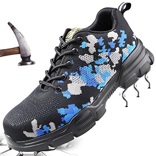 Scarpe Antinfortunistiche Uomo Scarpe da Lavoro Donna con Punta in Acciaio Sneaker da Lavoro Estive Leggere Traspiranti Scarpe da Trekking per all'aperto Blue 42