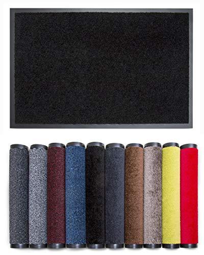 Carpet Diem Rio C Schmutzfangmatte - 5 Größen - 10 Farben Fußmatte mit äußerst starker Schmutz und Feuchtigkeitsaufnahme - Sauberlaufmatte in schwarz 60 x 90 cm