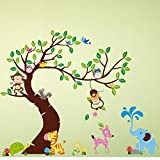 Wandaro Wandtattoo XXL Premium-Set Baum Äste I Set 2 I Kinderzimmer Babyzimmer Wandaufkleber Wandsticker Aufkleber Affen Sticker W3387