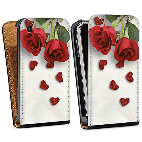 Apple iPhone 5s Housse étui coque protection Rose Roses and Hearts C½ur Sac Downflip noir