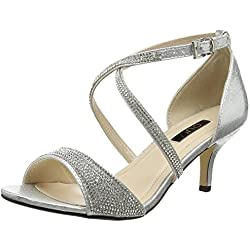 Quiz Damen Shimmer Diamante Low Heel Pumps, Silberfarben, 38 EU (5 UK)