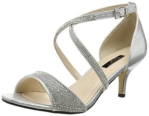 Quiz Shimmer Diamante Low Heel, Escarpins Bout ouvert femme -