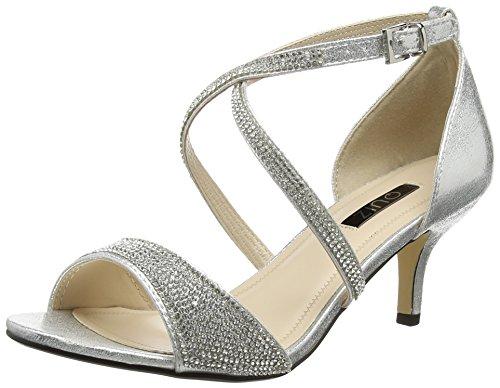 Quiz Damen Shimmer Diamante Low Heel Pumps, Silberfarben, 39 EU (6 UK)