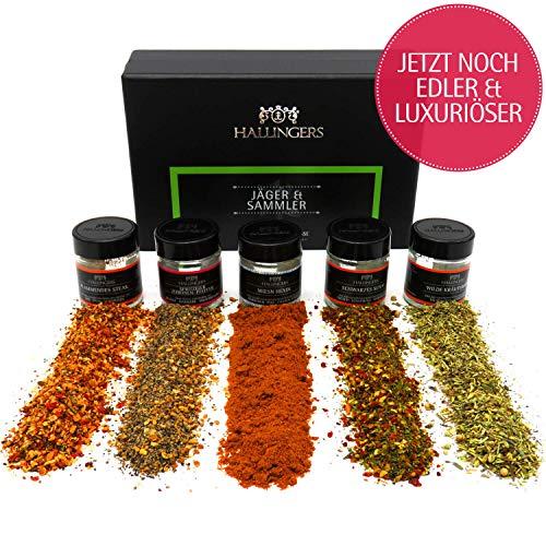 Hallingers 5er Premium-Grill-Gewürze als Geschenk-Set (70g) - Jäger und Sammler (MiniDeluxe-Box) - zu Sommer Grillen Für Ihn Gourmet-mini-set
