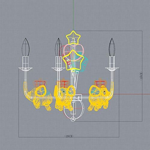 Real nórdica habitación de los niños Luces pendientes accesorios de cocina amarillo pequeño elefante lámparas pendientes de la sala de estar de iluminación de luminarias, 5 jefes
