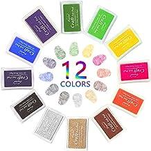 Almohadilla Tinta para Sello Tampón, Nakeey 12 colores disponibles para Madera Papel Tela para estampilla de goma DIY Scrapbooking y tarjeta de fabricación de decoración, Niños No Tóxico