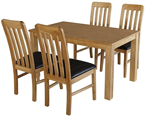 solid oak Sleek Table and 4 Slat Back Chairs