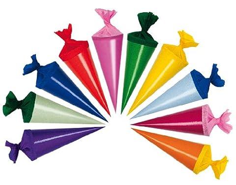 6 Stk. Schultüte 12 cm - rund - Geschenktüte klein Dekoration Zuckertüte Deko für Schulanfang Dekotüten 12cm